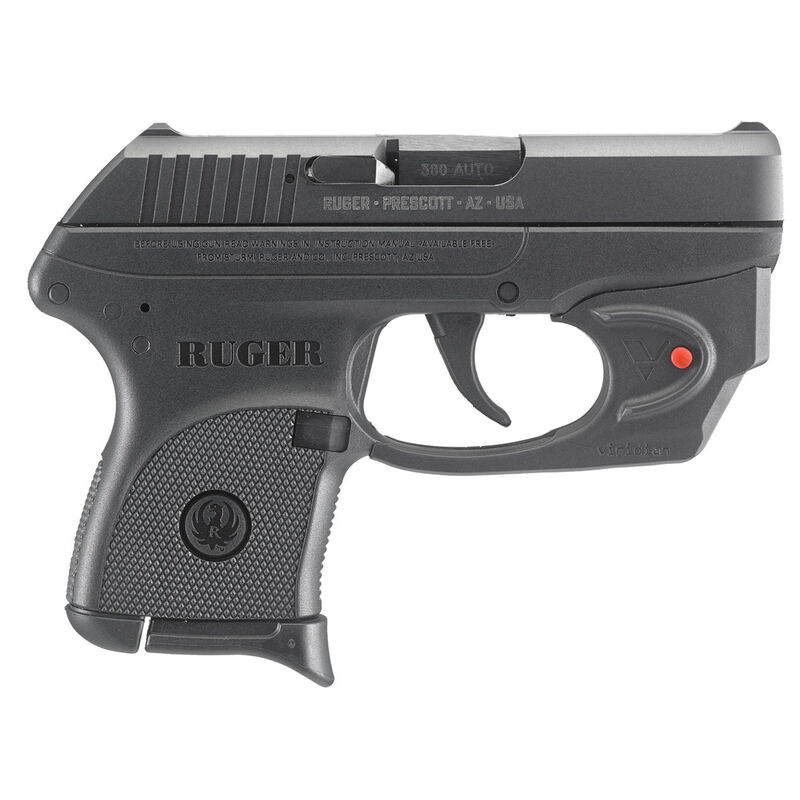 """Ruger LCP Semi Auto Pistol .380 ACP 2.75"""" Barrel 6 Rounds Fixed Integral Sights Viridian E-Series Red Laser Polymer Frame Matte Black Finish"""