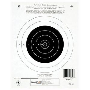 """Champion Traps & Target 50 Yard Small Bore Rifle Target 7""""x9"""" Paper 12 Pack 40759"""