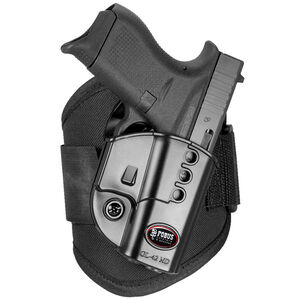 Fobus Ankle Holster GLOCK 42 Right Hand Draw Polymer Shell/Cordura Pad with Velcro Strap Matte Black Finish