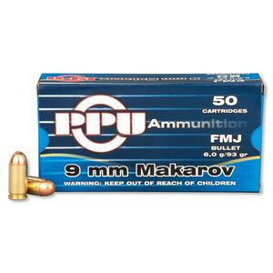 Prvi Partizan PPU 9x18 Makarov Ammunition 50 Rounds 93 Grain Full Metal Jacket 1049fps