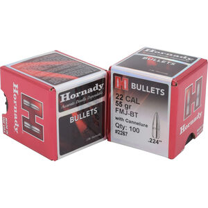 Hornady .22 .224 Bullet, 100 Projectiles, FMJBT, 55 Grain