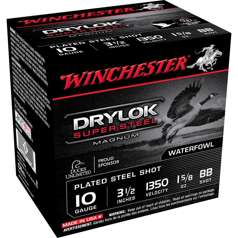 "Winchester Drylok 10ga 3-1/2"" BB Steel 1-5/8oz 25 Rnd Box"