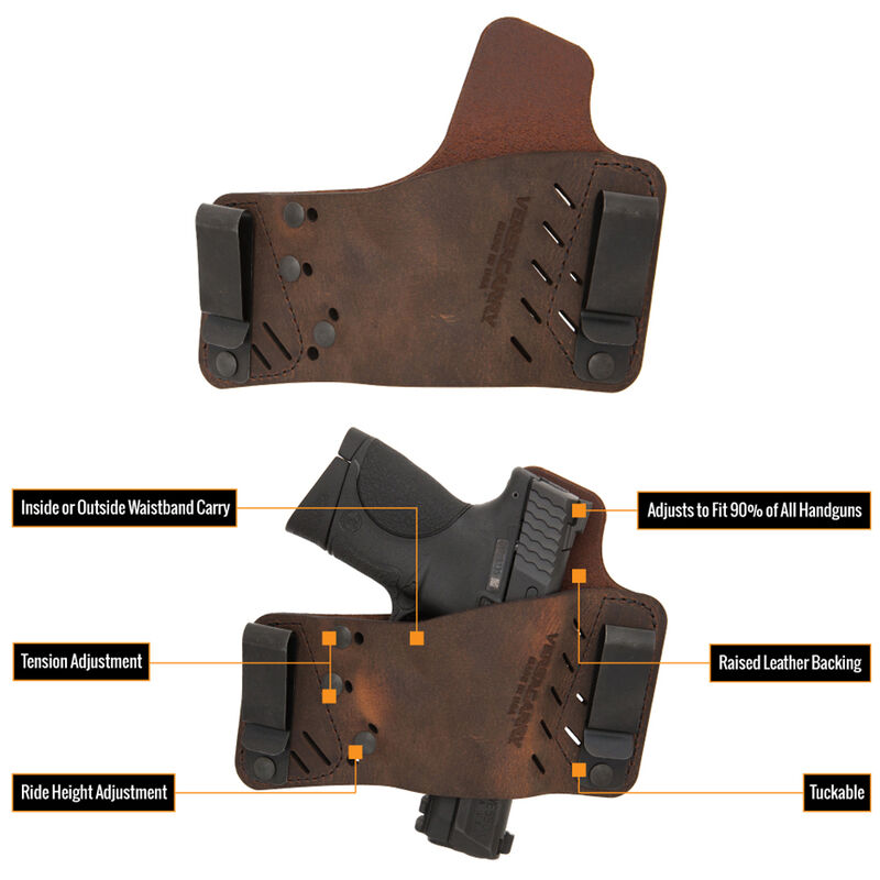VersaCarry Protector S3 IWB/OWB Tuckable Holster Multi Fit Right Hand Leather Brown 52311