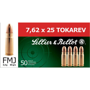 Sellier & Bellot 7.62x25 Tokarev Ammunition 50 Rounds FMJ 85 Grains SB762TOK