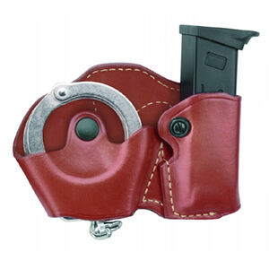 Gould & Goodrich Cuff/Mag Case Combo Left Hand Fits GLOCK 17/19/22/23 Leather Chestnut Brown