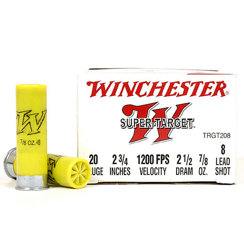 "Winchester Super-Target 20 Gauge Ammunition 25 Rounds 2 3/4"" #8 Lead Shot 7/8 Ounce TRGT208"