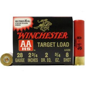 "Winchester AA Target 28 Gauge Ammunition 2-3/4"" 25 Rounds #8 3/4 Ounce Lead Shot 1200fps"