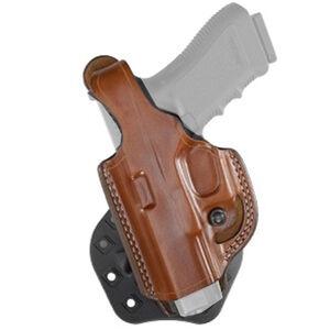 Aker Leather 268 FlatSider Thumbreak XR17 GLOCK 19/23 Paddle Holster Left Hand Leather Tan
