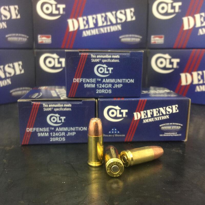 Colt Defense 9mm Luger Ammunition 20 Rounds 124 Grain Jacketed Hollow Point  1100fps