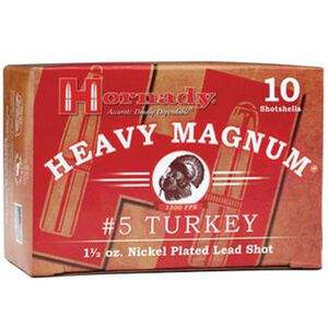 """Hornady 12 Gauge Ammunition 10 Shells 3"""" #5 Plated Shot 1.5 oz."""