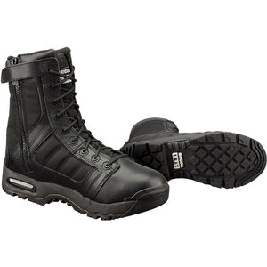 "Original S.W.A.T. Metro Air 9"" Side Zip Men's Boot Size 10.5 Wide Non-Marking Sole Leather/Nylon Black 123201W-105"