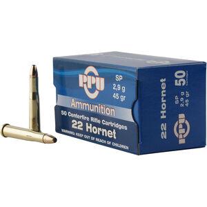 Prvi Partizan PPU Standard .22 Hornet Ammunition 50 Rounds 45 Grain SP 2430fps