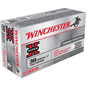 Winchester Super X .38 Special +P Ammunition 50 Rounds, LHPSWC, 158 Grains
