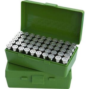 MTM Case-Gard P-50 Original Series Flip Top Handgun Ammo Box 9mm/.308 50 Round Capacity Polymer Green P50-9M-10