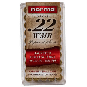 Norma USA Professional Hunter .22 WMR Ammunition 50 Rounds 40 Grain Jacketed Hollow Point