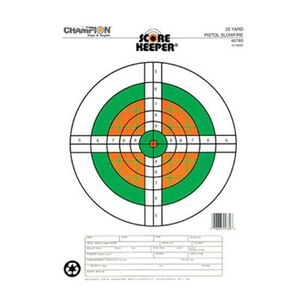 Champion Flourescent Orange/Green Bullseye Scorekeeper Target 25 Yard Pistol Slowfire 12 Pack