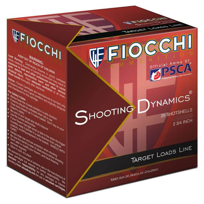 "Fiocchi Shooting Dynamics Clay Target Heavy Dynamic 20 Gauge Ammunition 2-3/4"" #9 Shot 7/8oz Lead 1210fps"