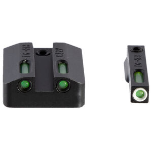 TruGlo TFX CZ P10/P10c Sight Set Day/Night Green Tritium 3-Dot Configuration Front White Focus Lock Ring Square Cut Rear Notch Steel Black