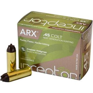 Inceptor Preferred Hunting .45 Long Colt Lever Action Ammunition 20 Rounds 157 Grain ARX UM1 Frangible Lead-Free Cu/P Projectile 1350fps