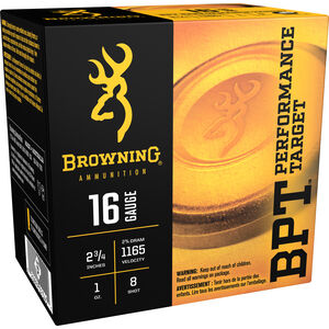 "Browning BPT Light 16 Gauge Ammunition 250 Rounds 2.75"" #8 Lead 1 Ounce B193611628"