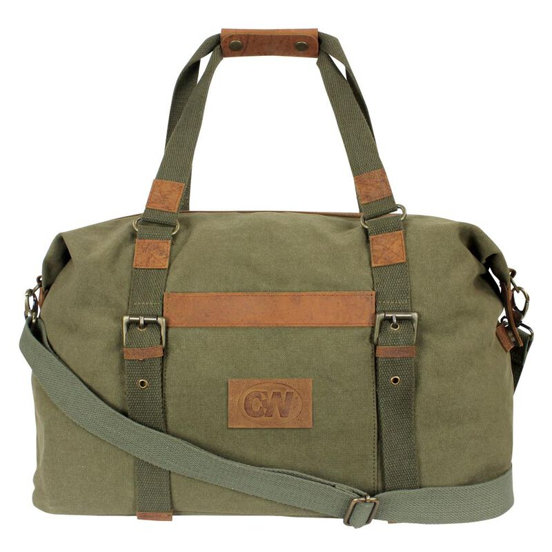 Camp-Ways Vintage Urban Travel Bag Distressed OD Canvas and Tan Leather