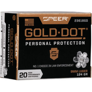 Speer Gold Dot Personal Protection 9mm Luger Ammunition 20 Rounds 124 Grain GDHP 1150fps