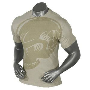 Voodoo Tactical Men's Short Sleeve Subdued Skull Tee Shirt Cotton Large Sand