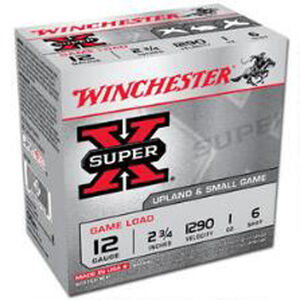 "Winchester Super X 12 Gauge Ammunition 25 Rounds, 2.75"", Plated #6"