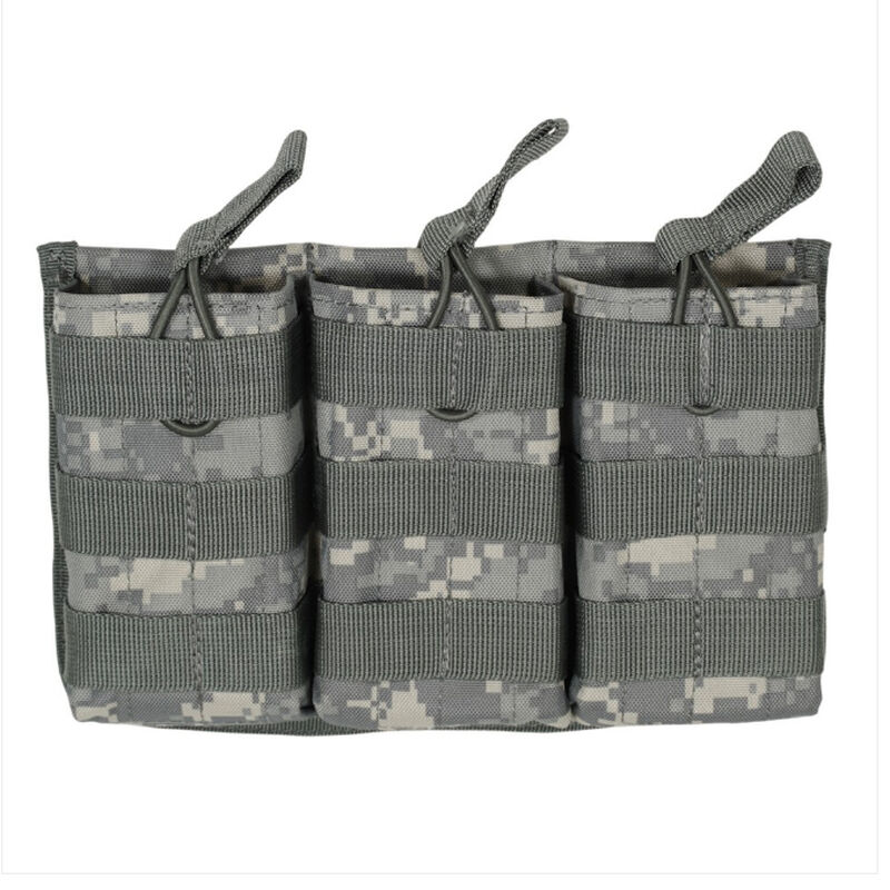 Voodoo Tactical AR-15/M4/M16 Open Top Triple Magazine Pouch Bungee Retention System PALS Webbing Compatible Nylon Army Digital