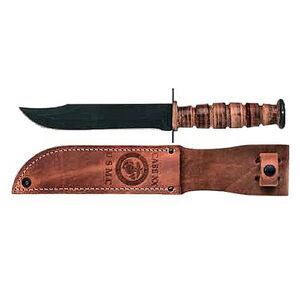 """Case USMC Bowie Fixed Knife 7"""" Plain Edge Clip Point 1095 Steel Blade Stacked Leather Handle with Leather Sheath 00334"""