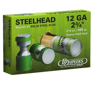 """DDupleks USA Steelhead Monolit 32 12 Gauge Ammunition 5 Rounds 2 3/4"""" 1-1/8 oz Solid Steel Slug Lead Free 1410 fps"""