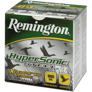 "Remington Hypersonic Steel 20 Gauge Ammunition 25 Rounds 3"" #4 Steel 1 Ounce HSS20M4"