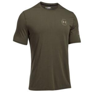 Under Armour UA Freedom Threadborne Siro Men's Short Sleeve Shirt Small Polyester True Gray Heather