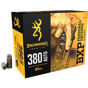Browning BXP Personal Defense .380 Auto Ammunition 95 Grain X-Point JHP 1000 fps