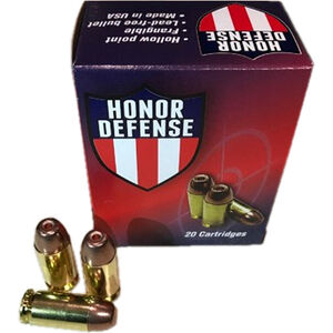 Honor Defense 9mm Luger Ammunition 20 Rounds 100 Grain LF Frangible HP 1250fps