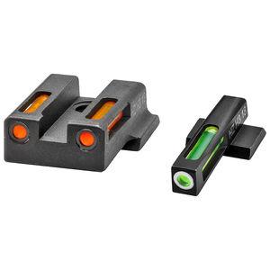 Hi-Viz LiteWave  H3 S&W M&P Shield 9 EZ Green Fiber Optic Tritium Front And Orange Rear Sight Set Steel Black