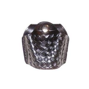 Stallion Leather Quick Release Open Top Standard Handcuff Holder Nickel Hardware Basket Weave Finish Leather Black