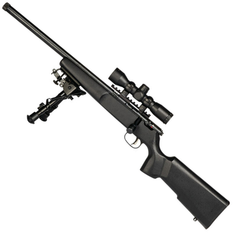 "Savage Rascal Target XP LH Bolt Action Rimfire Rifle .22 LR 16.125"" Threaded Barrel 1 Round 4x32 Scope and Bipod Black Wood Stock Blued"