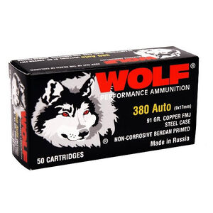 Wolf Performance .380 ACP Ammunition 50 Rounds FMJ 94 Grain