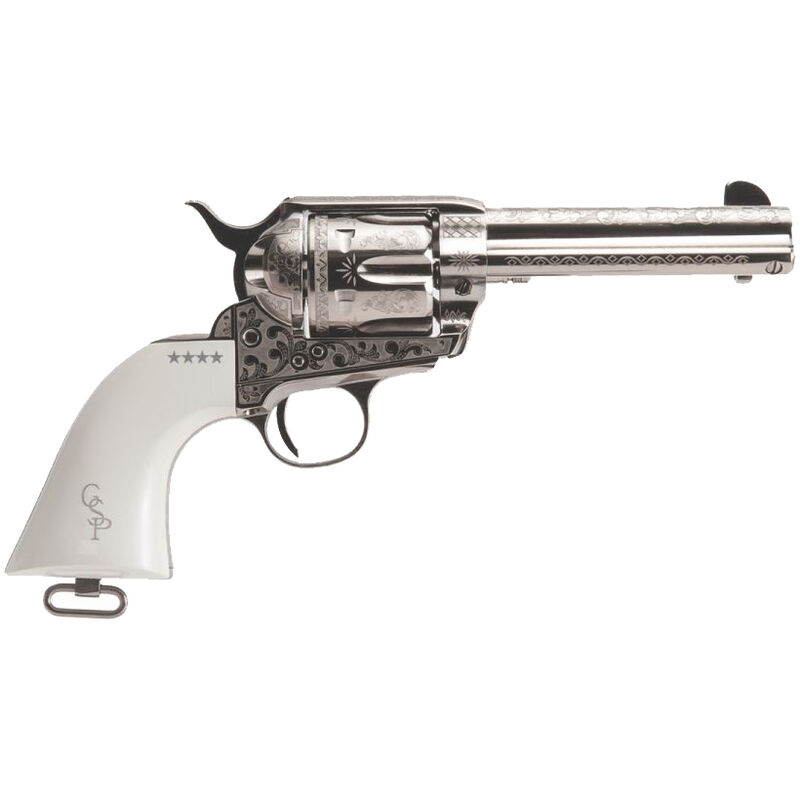"""Cimarron George Patton .45 LC Single Action Revolver 4.75"""" Barrel 6 Rounds Poly Ivory Grips Nickel Finish"""