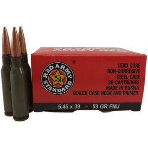 Century Arms Red Army Standard 5.45x39mm Ammunition 20 Rounds 59 Grain FMJ Steel Cased Bi-Metal Jacket