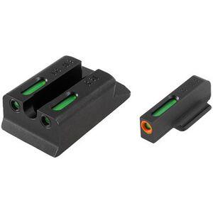 TRUGLO TFX Pro Ruger SR9/SR9C/SR40/SR40C/SR45 Front and Rear Set Green TFO Night Sights Orange Ring Steel Black TG13RS1PC
