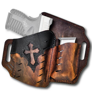 Versacarry Underground Premium Guardian Arc Angel Holster with Magazine Pouch GLOCK 42/43 Springfield XDS and Similar Sub Compacts OWB Right Hand Water Buffalo Leather Distressed Brown and Black