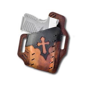 Versacarry Underground Premium Guardian Arc Angel Holster GLOCK 17/19 and Similar OWB Right Hand Water Buffalo Leather Distressed Brown and Black