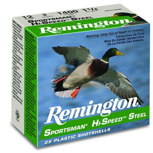 "Remington Sportsman Hi-Speed Steel 12 Gauge Ammunition 25 Rounds 3"" Length 1-1/4 Ounce #1 Steel Shot 1400fps"