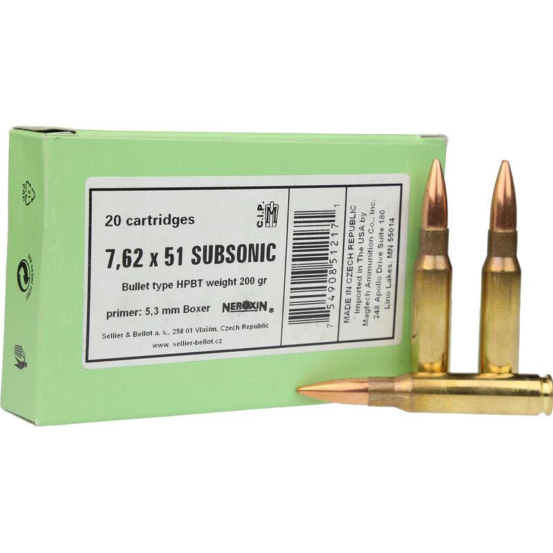 Sellier & Bellot .308 Winchester Ammunition 20 Rounds Subsonic BTHP 200 Grains SB308SUBA