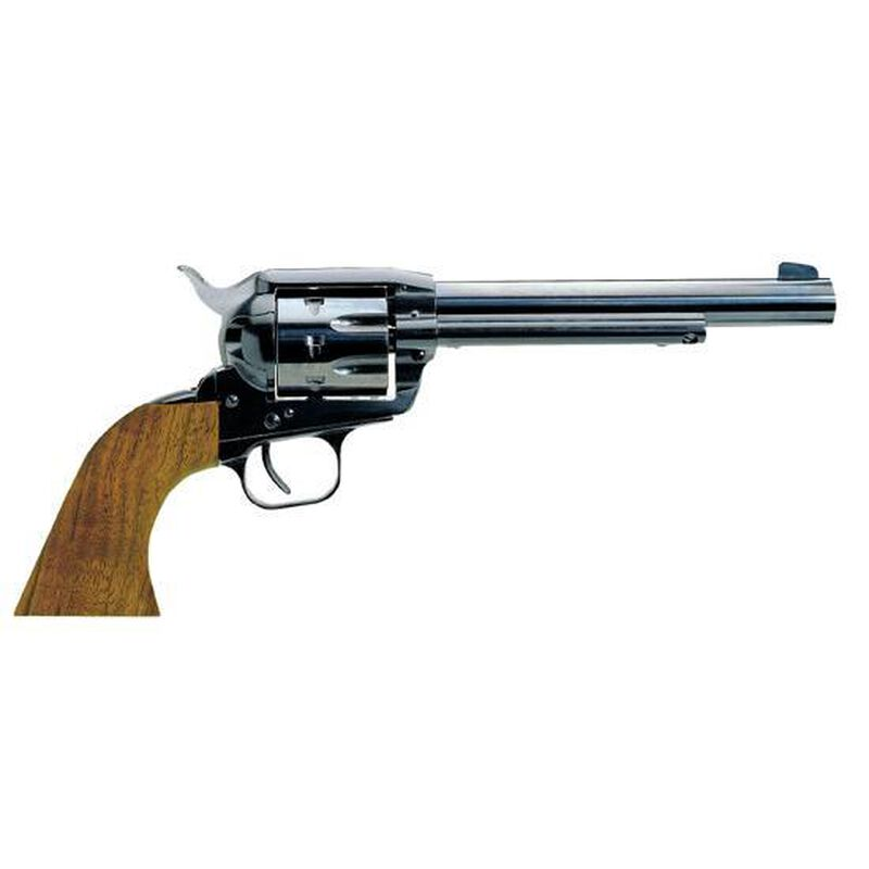 """European American Armory Bounty Hunter Revolver Single Action Army .22LR / .22WMR, 6.75"""" Barrel, Alloy Blue Finish, Walnut Grips, 6 Rounds, 2 Chambers Included, Right Hand, 41.6oz,  Fixed Sights 770100"""