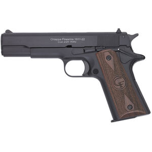 "Chiappa 1911-22 Semi Auto Pistol 22 LR 5"" Barrel 10 Rounds Wood Grips Black"