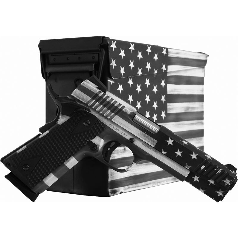 """Citadel M-1911 Government .45 ACP Full Sized 1911 Semi Auto Pistol 5"""" Barrel 8 Rounds Black G10 Synthetic Grips US Flag Grayscale Battleworn Finish"""