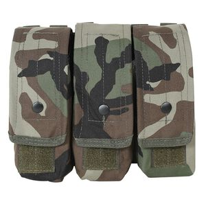 Voodoo Tactical AK47/AK74/M4/AR-15 Triple Magazine Pouch Hook/Loop Flap Adjustable Snap Closure MOLLE Webbing Compatible Nylon Woodland Camo
